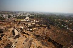Vista dalla parte superiore della fortificazione di Golconda, Haidarabad Fotografia Stock