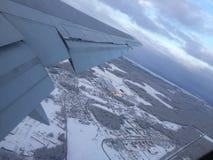 Vista dalla pianura neve nuvoloso Fotografie Stock