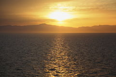 Vista dalla piattaforma della nave da crociera. Fotografia Stock