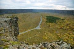 Vista dalla roccia di Eyjan in Asbyrgi Immagini Stock Libere da Diritti