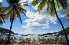 Vista dalla spiaggia caraibica Immagini Stock Libere da Diritti