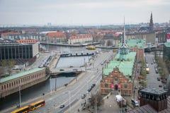 Vista dalla torre di Christiansborg copenhaghen denmark immagini stock libere da diritti