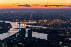 Vista dalla torre di Eureka verso il ponte di Bolte, Melbourne Immagini Stock Libere da Diritti