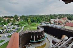 Vista dalla torre di graduazione Miniera di sale di Wieliczka cracovia poland Fotografia Stock