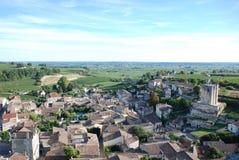Vista dalla torre di orologio del san-Émilion Fotografia Stock