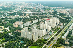 Vista dalla torre di Ostankino sulla città Mosca Immagini Stock Libere da Diritti
