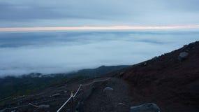 Vista dalla traccia di trekking della montagna di Fuji fotografia stock libera da diritti