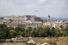 Vista dalla vecchia cittadella sulla città di Corfù (Grecia) Fotografie Stock Libere da Diritti