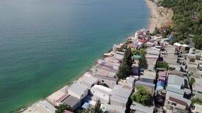Vista dalla veduta panoramica delle conseguenze della frana nella citt? di Chernomorsk, Ucraina video d archivio