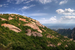 Vista dalle montagne del Montserrat Fotografia Stock Libera da Diritti