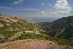 Vista dalle montagne del Montserrat Immagini Stock Libere da Diritti