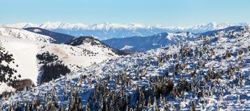 Vista dalle montagne di Velka Fatra alle alte montagne di Tatras Immagine Stock