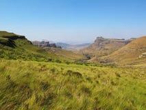 Vista dalle montagne, parco nazionale di Drakensberg di uKhahlamba Fotografia Stock Libera da Diritti