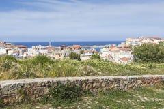 Vista das casas brancas da cidade de Chania de cima de, Creta, Greec Imagem de Stock Royalty Free