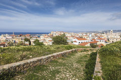Vista das casas brancas da cidade de Chania de cima de, Creta, Greec Fotografia de Stock