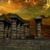 Vista das colunas do tempo antigo sem plantas imagem de stock royalty free