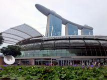 Vista das construções modernas, Marina Bay Sands Imagem de Stock Royalty Free