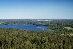 Vista das florestas e do lago no verão Fotos de Stock