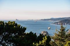 Vista das ilhotas múltiplas que estão para fora no Oceano Pacífico entre o embaçamento em Oregon do sul, EUA foto de stock