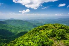Vista das montanhas apalaches do pináculo Craggy, no B fotografia de stock