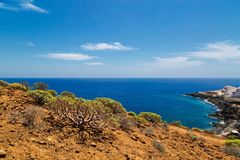 Vista das montanhas e do mar Imagens de Stock