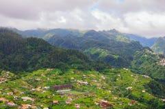 Vista das montanhas na rota Vereda a Dinamarca Penha de Aguia, ilha de Madeira, Portugal, Europa Imagem de Stock Royalty Free