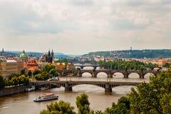 Vista das pontes em Praga Imagem de Stock
