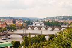 Vista das pontes em Praga Foto de Stock Royalty Free