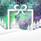 Vista de árvores do White Christmas na caixa com curva Imagens de Stock Royalty Free