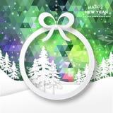 Vista de árvores do White Christmas na caixa com curva Fotografia de Stock