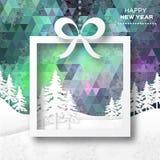 Vista de árvores do White Christmas na caixa com curva Fotografia de Stock Royalty Free