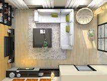 Vista de acima no interior moderno Foto de Stock Royalty Free