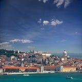 Vista de Alfama e Graca, arquitetura da cidade de Lisboa, Portugal, Europa Fotografia de Stock