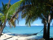 Vista de algumas palmas na praia Imagem de Stock Royalty Free