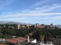 Vista de Alhambra de Mirador de San Nicolas em Granada Imagem de Stock Royalty Free