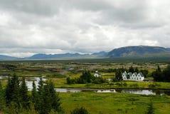 Vista de Althing, sudoeste Islandia Imagen de archivo libre de regalías