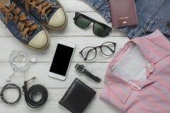 Vista de arriba de la moda accesoria de los hombres Imagenes de archivo