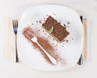 Vista de arriba de una porción de torta recientemente cocida Foto de archivo