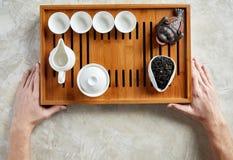 Vista de arriba de la ceremonia de té Imágenes de archivo libres de regalías