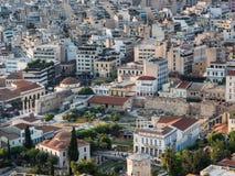 Vista de Atenas, de Grecia y del ágora romano con la torre de la mezquita de los vientos y de Fethiye en el centro en la puesta d imagen de archivo libre de regalías
