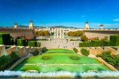 Vista de Barcellona de Montjuic, Fotografia de Stock Royalty Free