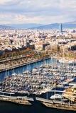 Vista de Barcelona del lado de Vell del puerto fotos de archivo libres de regalías