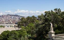 Vista de Barcelona del Museo Nacional del arte de Cataluña fotografía de archivo libre de regalías