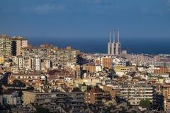 Vista de Barcelona y de Sagrada Familia Foto de archivo libre de regalías