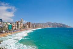 Vista de benidorm, Espanha, no verão Imagens de Stock Royalty Free