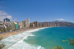 Vista de benidorm, Espanha, no verão Fotos de Stock Royalty Free