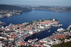 Vista de Bergen, Noruega Imagem de Stock Royalty Free