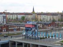 Vista de Berlim com quadros de avisos dos anúncios Fotos de Stock