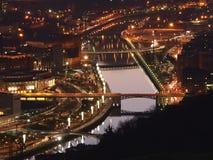 Vista de Bilbao no crepúsculo imagem de stock