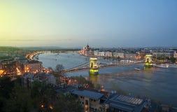 Vista de Budapest y del río Danubio de la colina de Gellert Imagen de archivo libre de regalías
